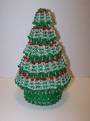 Vintage Safety Pin Red, Green & Lace Beaded Tabletop Christmas Tree 10 1/2""