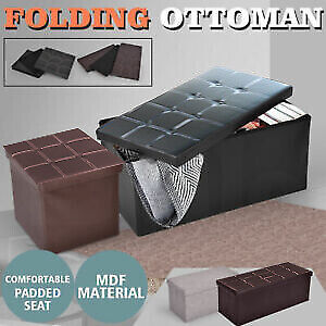 Folding Storage Tufted Ottoman Box Coffee Table Foot Rest Stool Bench