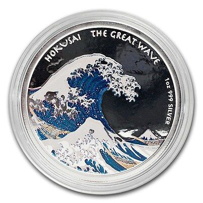 "2017 1oz ""Great Wave"" Colored Proof 99.9% Pure Silver Coin, ""Hokusai"" (Fiji)"
