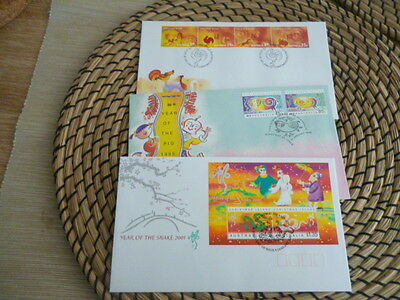 Christmas Island fdc range of 9 Lunar year covers all different 1995 - 2010