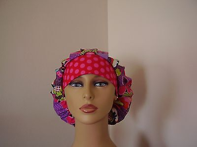 Bouffant Surgical Scrub Hat- Multi color Floral/Dot -One size- Handmade- Women