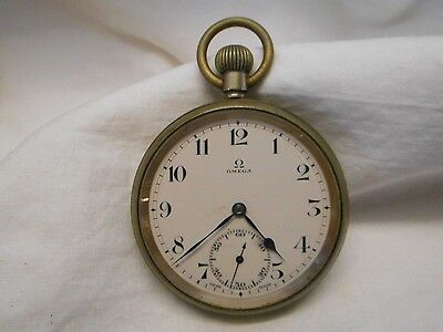 Vintage Early 1900S Omega Open Faced Pocket Watch