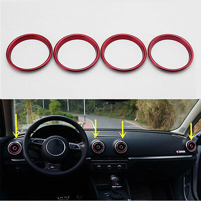 Ring Cover Trim Red Air Vent For AUDI A3 S3 Sedan Cabriolet Sportback 2012-2016