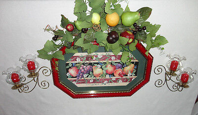 Home Interiors '' Mixed Fruits '' Picture & Sconces 12pc Set Hang H or V