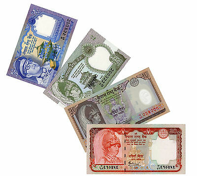 Nepal 1981 - 2002 Paper Money Set of 4 1 - 20 Rupees Gyanendra Birendra UNC