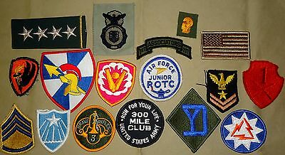 US Army Insignia, Dealer's Lot, 17 Patches, General's Stars, USN, USAF