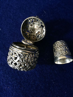 Sterling Silver Thimble Holder with Sterling Thimble