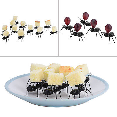 6/10/12Pcs Cute Plastic Ant Cat Fruit Serving Fork Home Kitchen Party Decoration