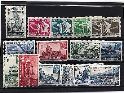 France French Colonies 15 stamps MNH  omnibus VF