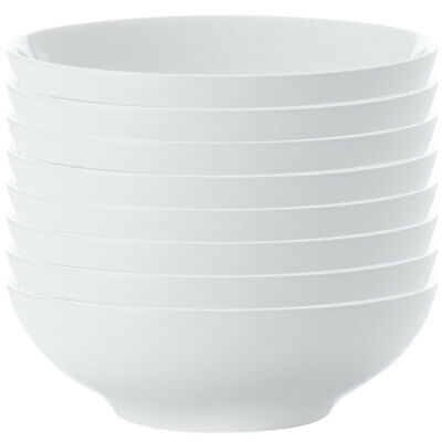 8pc Set Maxwell & Williams White Basics Coupe Pasta Bowl 20cm/Soup/Cereal/Noodle