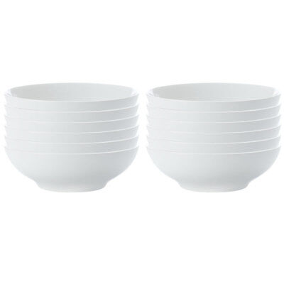 12pc Set Maxwell & Williams White Basics Coupe Pasta Bowl 20cm/Soup/Noodle