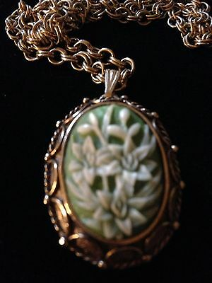 Vintage Signed Vanda Floral Lily Cameo Locket Necklace With Chain, 24 in