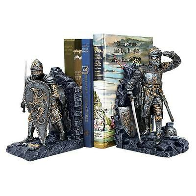Arthurian Knight Bookends Medieval Sculptures Crusaders Camelot Chivalry Dragons