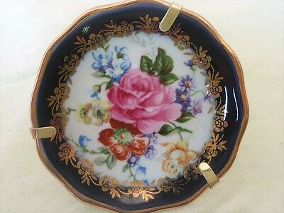 LIMOGES FRANCE MINIATURE PLATE WITH STAND - 5.5cm BLUE / FLORAL