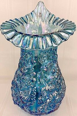 "Fenton Glass Poppy Show JIP Vase 14"" Carnival Glass Celeste Blue"