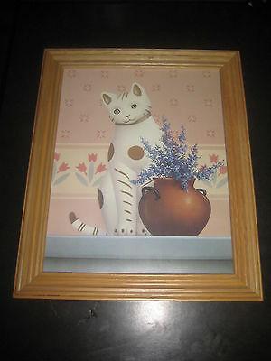 """Wood Framed Country Cat Collection L Print 1988 16.5"""" X 13.5"""""""