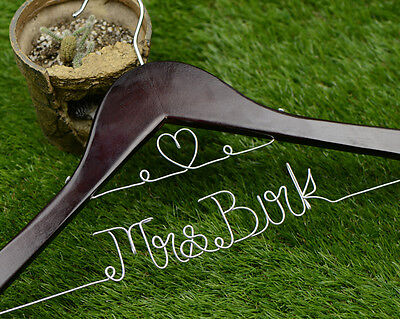 Personalized Wedding Hanger Custom Brides Name&Heart shap Bridal Dress Hanger