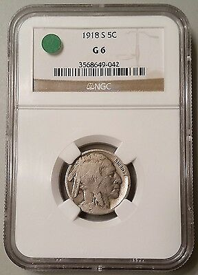 Key Date 1918-S Buffalo Indian Head Nickel NGC G6 Good 5C Five Cent Coin