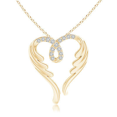 "Natural Round Diamond Angel Heart Pendant Necklace with 14k Yellow Gold 18""Chain"