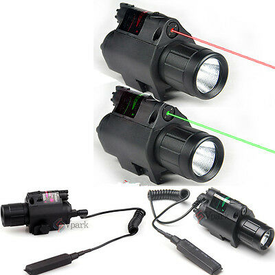 Combo Q5 LED Tactical Flashlight + Green/RED Laser Sight Scope Picatinny Mount