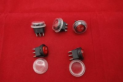 5Pcs 120V Red Illuminated Round 2 Position Rocker Switch with Waterproof Boot