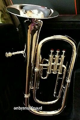 Baritone Horn Made Of Pure Brass In Chrome Polish +Case+ Mouthpc + Free Shipping
