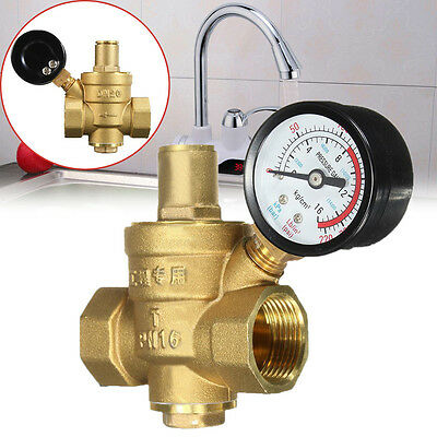 DN20 NPT 3/4'' Adjustable Brass Water Pressure Reducing Valve and Gauge Meter