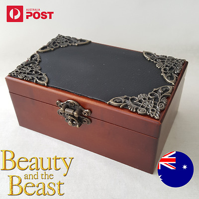 Artisanal Wooden Rectangle Wood Jewelry Wind Up Music Box : BEAUTY AND THE BEAST
