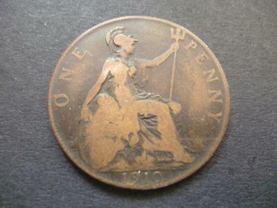 1910 One Penny Coin King Edward The 7Th Bronze, Good Condition. 1910 Penny Coin.