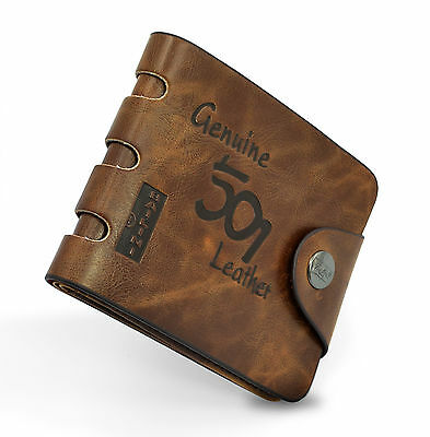 Mens Luxury Soft Quality Leather Wallet Credit Card Holder Purse Brown Wallet