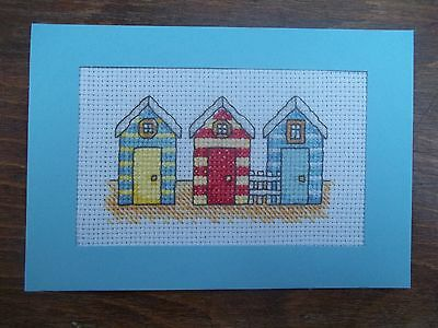 completed cross stitch card seaside beach huts