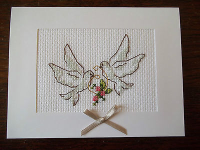 completed cross stitch card wedding / engagement / anniversary  / romantic doves