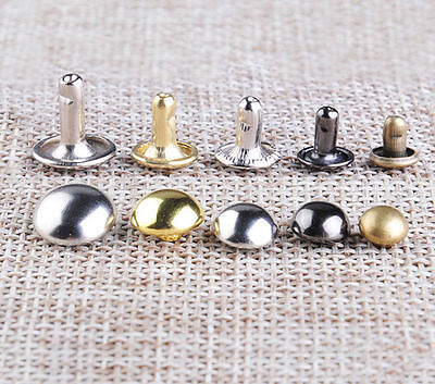 Domed Double Cap Rivets 6/7/ 8/9/10mm Diameter Studs Sewing Leather Craft