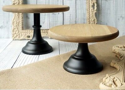 12 Inch 30cm Wood With Metal Base Cupcake Cake Stand Wedding Rustic Light Coffee