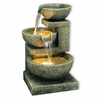 Kyoto Three Bowl Cascade Garden Water Fountain Feature White LED Lights 49cm New