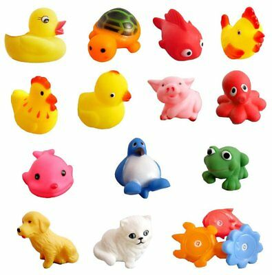 13 different squeaky floating animals/ocean rubber baby bath toys UK