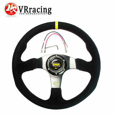 350mm Suede Leather Flat Style Steering Wheel OMP Sparco Rally Drifting BK
