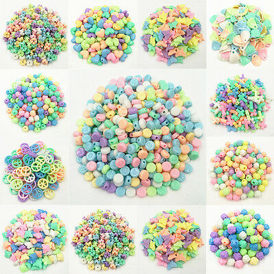 16 Shapes 50/100PCS Fluorescent Color Loose Beads For Girls Fashion Jewelry