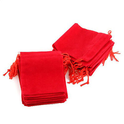 25 X velvet jewelry gift bag velvet Red