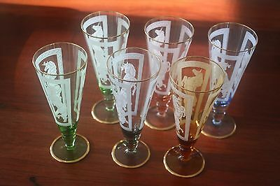 Rare Vintage UNICORN Harlequin Champagne Style Glasses Set of 6 Gold Bands
