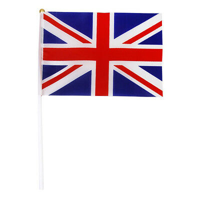 Hand Waving Union Jack Flags Plastic Poles 21 x 14cm Pack of 12 Red + white P8N0