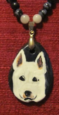 Bull Terrier - white- hand painted on a black Tagua Nut pendant/bead/necklace