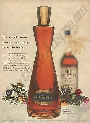 Old Forester Bourbon Whiskey Original 1954 Vintage Print Ad - Christmas Decanter
