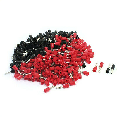 16AWG Wire E1508 Pre Insulate Ferrules Terminals Red Black for 500Pcs