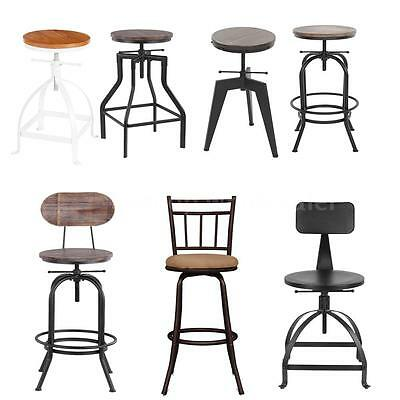 Industrial Wood Top Bar Stools Rustic Vintage Swivel Kitchen Dining Chair Sturdy