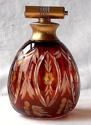 Ruby Glass Perfume Bottle With A Floral Pattern