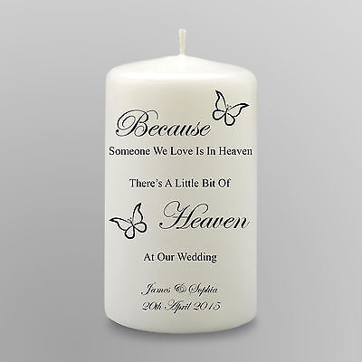 Personalised Wedding Memorial Candle Gift Keepsake Heaven At Our Wedding