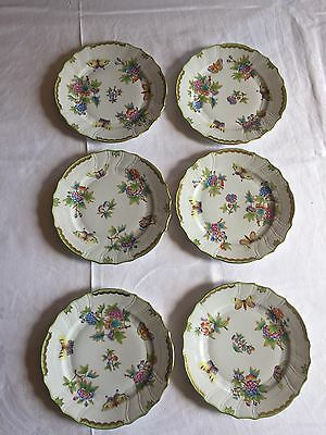 Beautiful Herend Set Of 6 Dinner Plates Queen Victoria VBO 1524