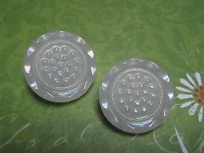 2 Vintage White Glass Buttons Irridescent 18mm craft jewelry scrapb knit sew