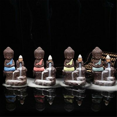 Ceramic Little Monk Incense Burner Smoke Backflow Statue Cone Holder Home Censer
